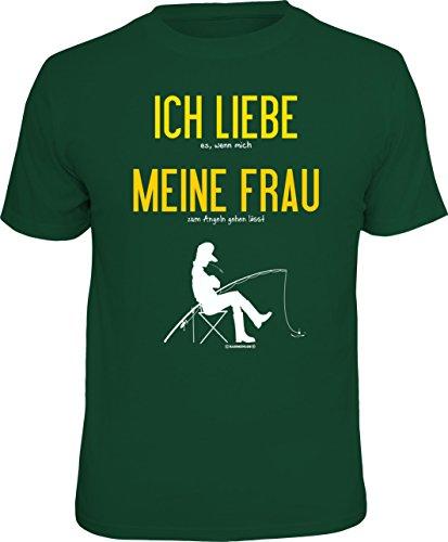 RAHMENLOS Original T-Shirt für Angler und Fischer: Ich Liebe Meine Frau., Grün, L