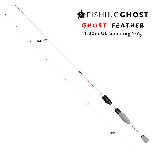 FISHINGGHOST Feather 1,80m Wurfgewicht: 1-7g Angelrute – Spinnrute – Steckrute – direkte Kraftübertragung beim Fischen auf Forelle, Saibling, Barsch, Seeforelle (Feather 1,80m Wurfgewicht: 1-7g)