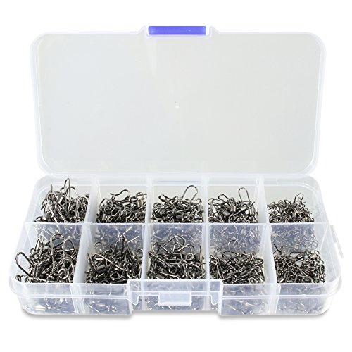 Frambay Premium Wirbel Set – 210 Stück – Hochwertige Angelwirbel in Box – Größen 2/4/5/6/8 - optimales Angelzubehör