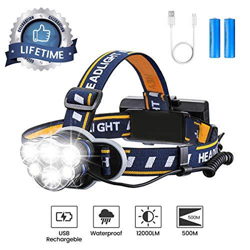 OUTERDO Stirnlampe superheller, Kopflampe 6 LED 12000LM 8 Modi, Stirnleuchte USB und 2xBatterien, Kopfleuchte Ideal für Camping, Fischerei, Keller,Laufen, Campen, Wandern und Spaziereng