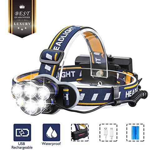 OUTERDO Stirnlampe superheller Kopflampe 6 LED 8 Modi, Stirnleuchte USB und 2xBatterien, Kopfleuchte Ideal für Camping, Fischerei, Keller,Laufen, Campen, Wandern und Spaziereng