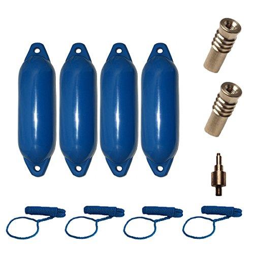 Komplettset 4er-Set Majoni Star 25 Fender Bootsfender mit 4 Fenderleinen, 2 Ersatzventilen und 1 Ventiladapter - blau 58 x 15 cm